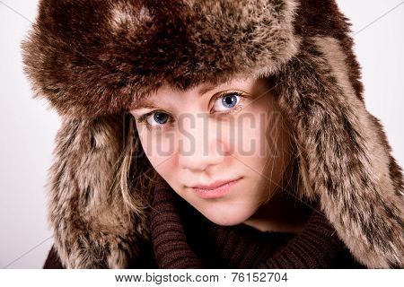 Cute Blue Eyed Girl With Ushanka