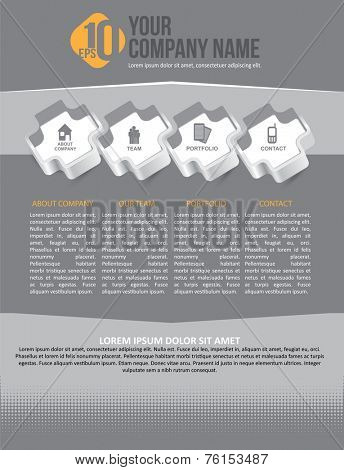 Modern business vector design with info icons about company. Can be used for brochure, poster, flyer or website.