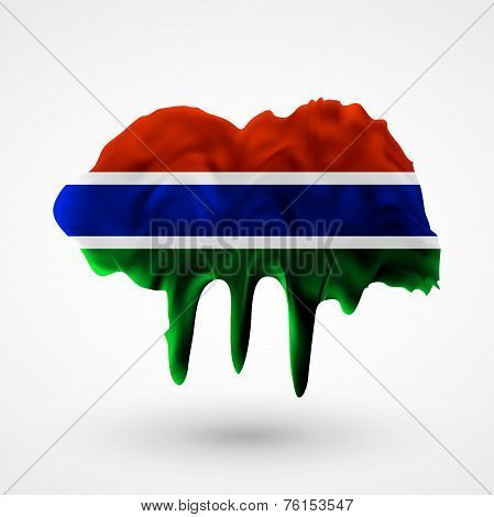 Flag of Gambia painted colors