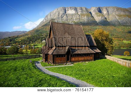 Wonderful landscape with Øye stave church, Oppland county, Norway