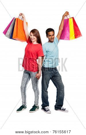 Holding Hands With Shopping Bags.