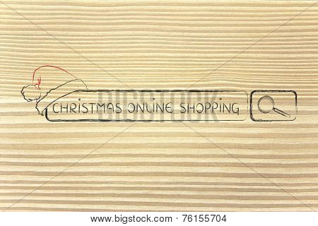 Search Bar With Santa Claus Hat, Concept Of Christmas Shopping Online