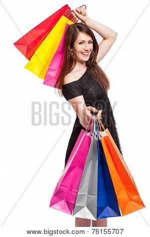 Smiling Girl With Shopping.
