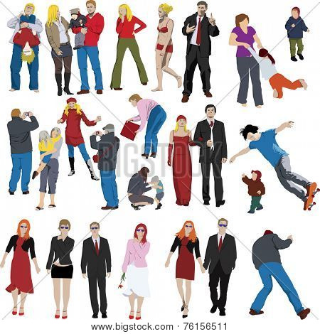 Set of vector people illustrations
