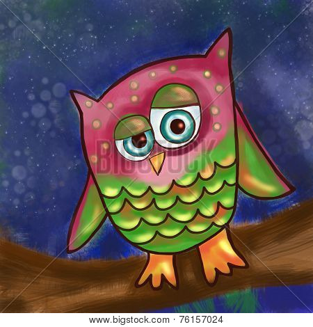 Cartoon Owl Painting