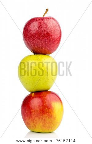 several apples on white background. photo icon for diet and healthy, vitamin-rich diet.