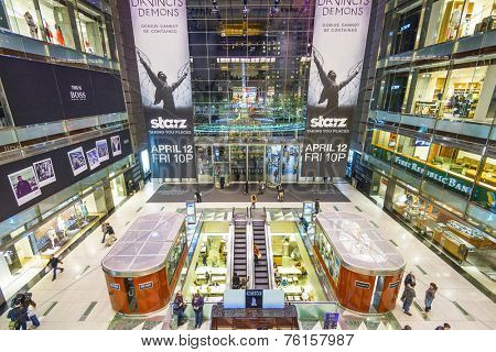 NEW YORK CITY, USA - APRIL 13, 2013: Time Warner Center Mall in New York City.
