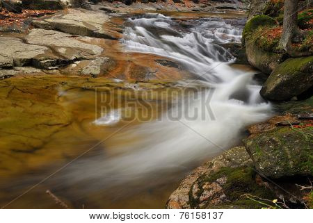 Wild River Stream With Cascade In Autumn