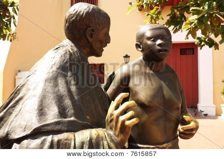 Statue Evangelization In Cartagena De Indias, Colombia
