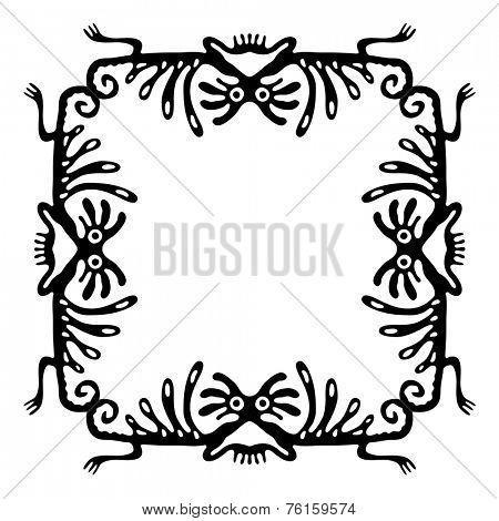 Black  frame, design element with dragons or monsters, vector illustration