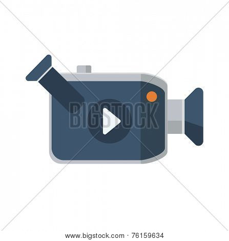 Video camera flat icon, vector logo ilustration