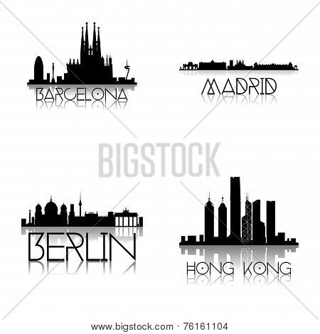 a set of black silhouettes of different famous places on a white background