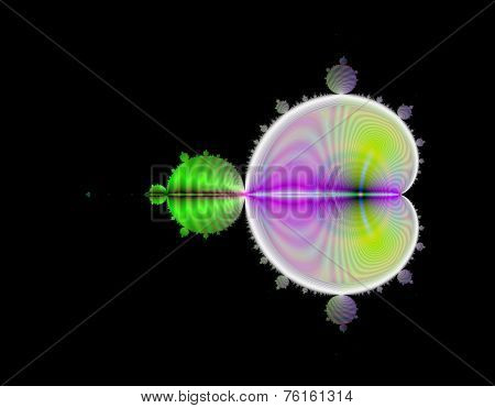 Mandelbrot set in green and purple