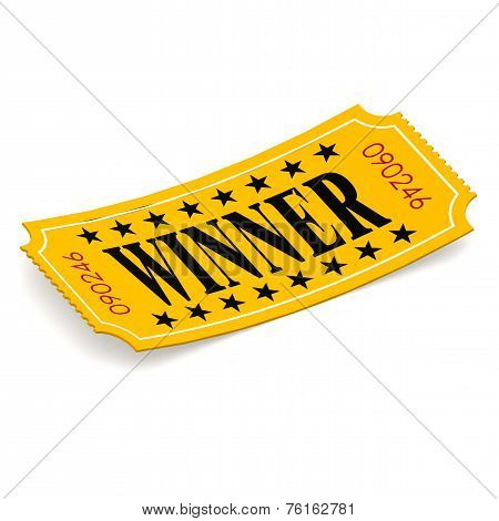 Winner Ticket On White Background