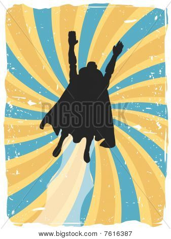 Superhero silhouette flies up through swirl grunge