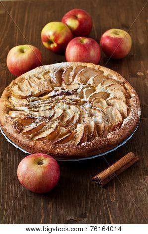 Apple Pie On The Wooden Backgraund