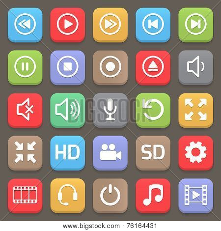 Video interface icon for web or mobile. Vector