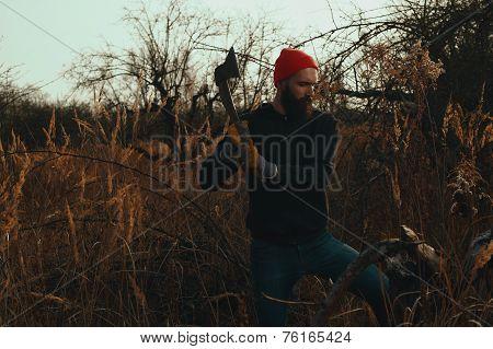 bearded lumberjack is chopping stump