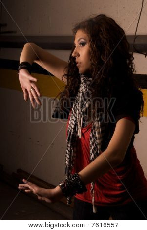 model woman gesturing with her hands and body