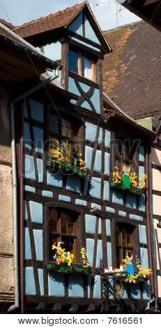 Blue Timber Frame House In Alsace Decorated For Easter