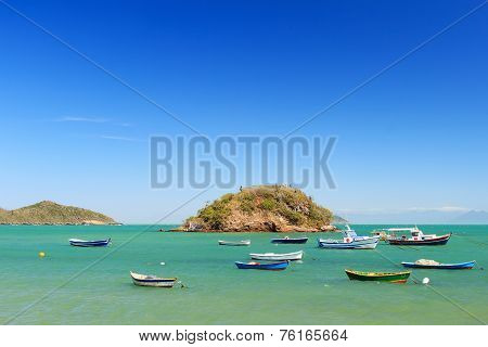Boats, Yachts Trip Island Sea In Armacao Dos Buzios, Brazil