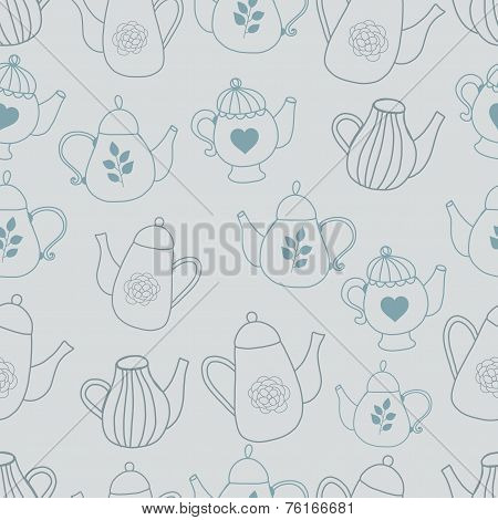 Teapot seamles pattern hand drawn styl with triangles backdrop. Graphic colorful pastel color flower