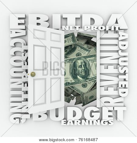 EBITDA word acronym on an open door to illustrate budget or accounting practices to report profit, revenues and earnings before interest, tax, depreciation and amortization