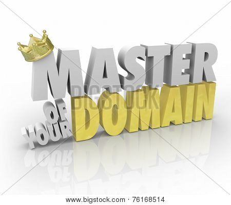 Master of Your Domain words in 3d letters with gold crown to illustrate reaching a top position of leadership as CEO, president or king over your realm or organization