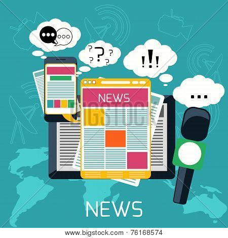 Mass media concept news radio newspaper