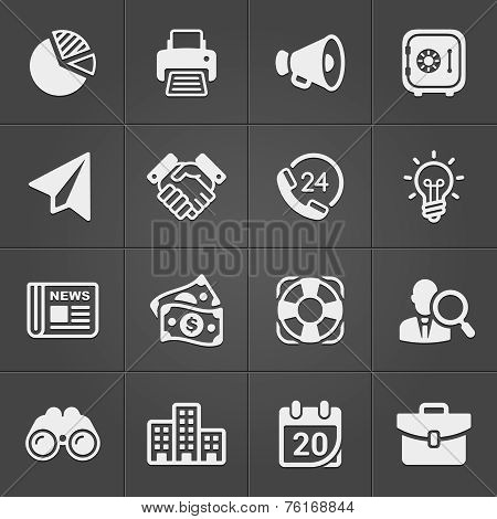 Business and finance icons on black set 1. Vector