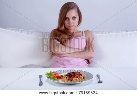 Girl Refusing To Eat Dinner