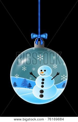 Snowman In A Christmas Ornament