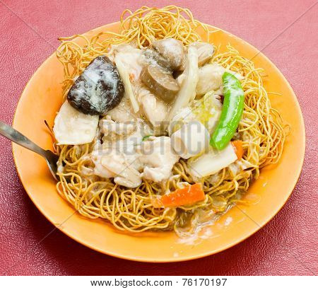 Noodle. Rice Noodles Soup With Chicken And Vegetable