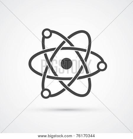 Trendy flat atom molecular black icon