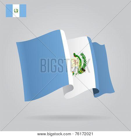 Flat and waving Guatemala Flag. Vector