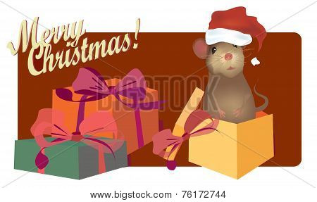 Merry Christmas Card with Cute mouse