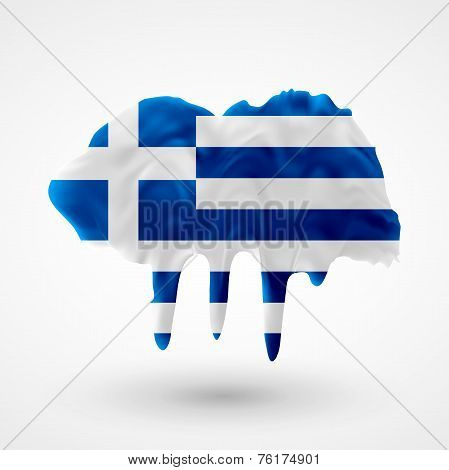 Flag of Greece painted colors