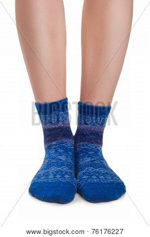 Perfect Female Legs In Blue Knitted Socks
