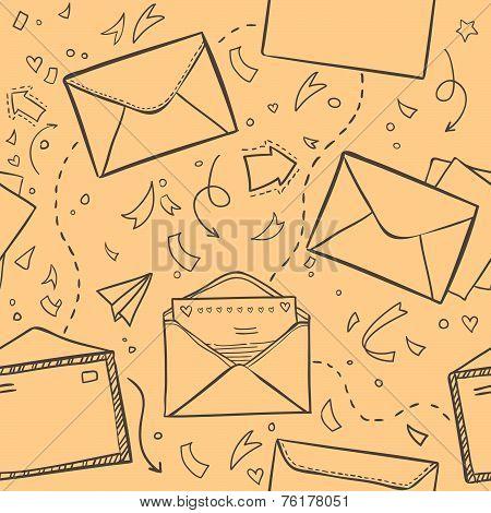 Hand Drawn Sketch Illustration - Letter And Envelope. Love Lette