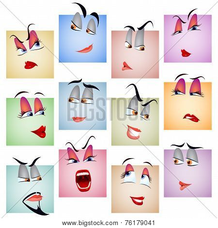 Smile Avatar Icon Emotion Face Set