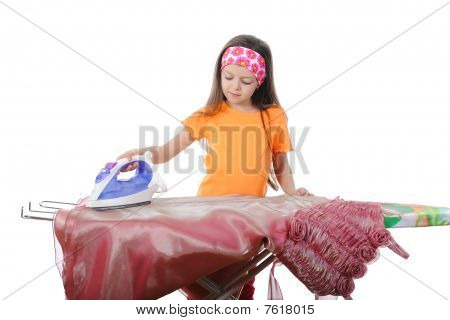 Little Girl Stroked Her Dress Iron