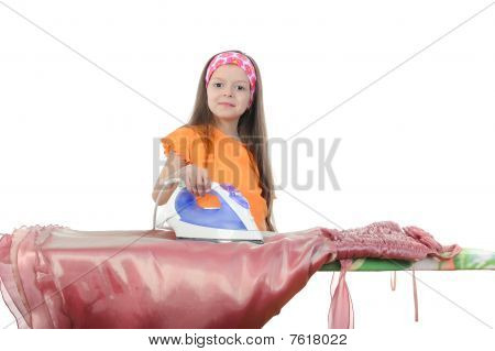 Girl Stroking A Pink Evening Gown