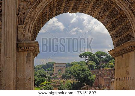 Rome Italy. Vista Triumphal Arch At The Forum Romanum