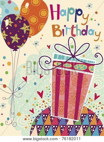 Beautiful happy birthday greeting card with gift and balloons in bright colors.Birthday card.
