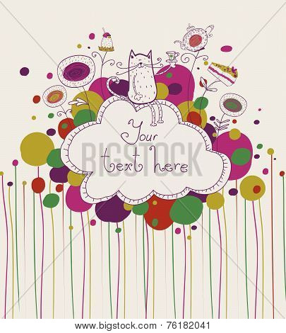 Tea time template design.Vector illustration made of sweets. Retro card made of candy, sweets,and te