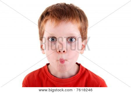 "Cute Boy Making ""funny Face."""