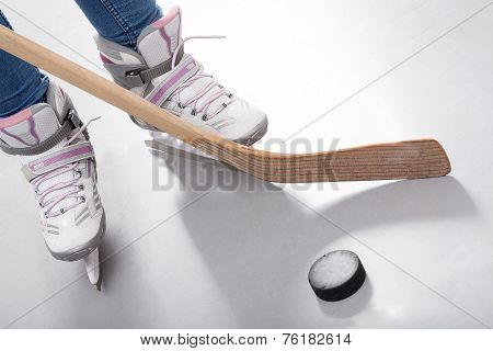 Close-up Of Hockey Player Legs