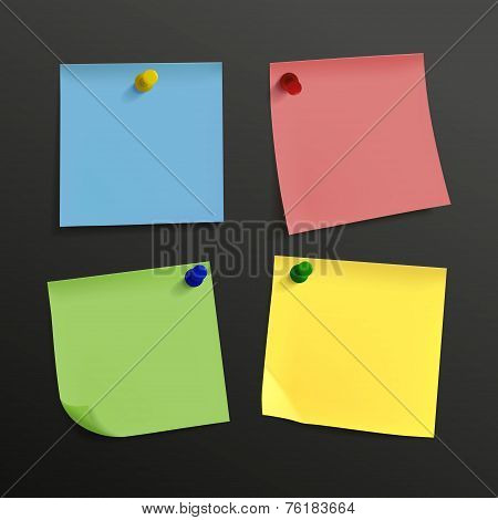 Blank Colorful Sticky Notes Set With Pin