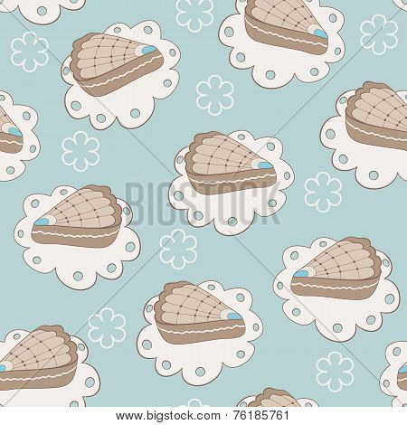 Hand Drawn Portion Of Cakes Seamless Pattern