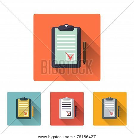 Checklist Icon, Flat Design On 4 Color Background